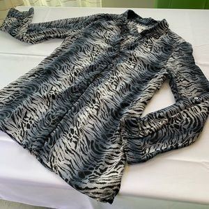 Animal print sheer blouse Chico's size 2 (US L)